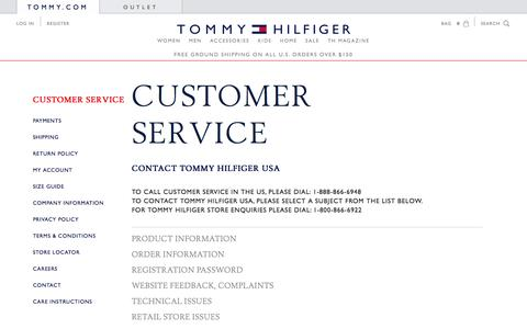 Screenshot of Support Page tommy.com - CONTACT | Tommy Hilfiger USA - captured Sept. 18, 2014