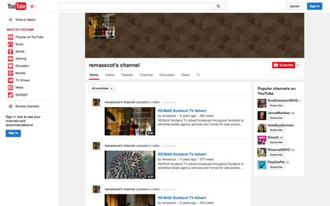 Screenshot of YouTube Page youtube.com - remaxscot's channel  - YouTube - captured Oct. 26, 2014