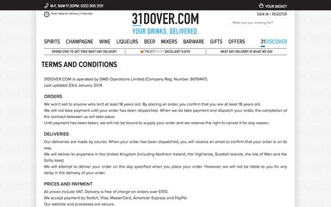 Screenshot of Terms Page 31dover.com - Terms and Conditions   31DOVER - captured Aug. 25, 2016