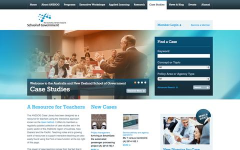 Screenshot of Case Studies Page anzsog.edu.au - Home | Case Studies | Australia and New Zealand School of Government - captured Oct. 4, 2014