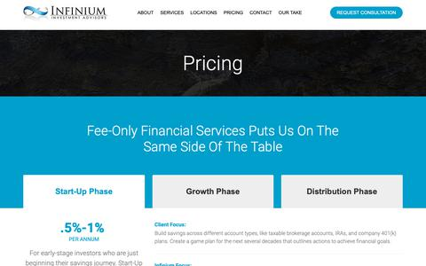 Screenshot of Pricing Page infiniumadvisors.com - Financial Advisory Pricing   Infinium Financial Advisors - captured Oct. 11, 2018