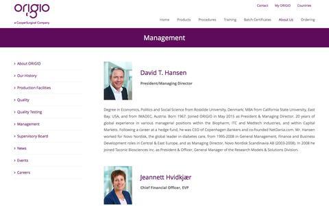Screenshot of Team Page origio.com - Management – ORIGIO - captured June 13, 2017