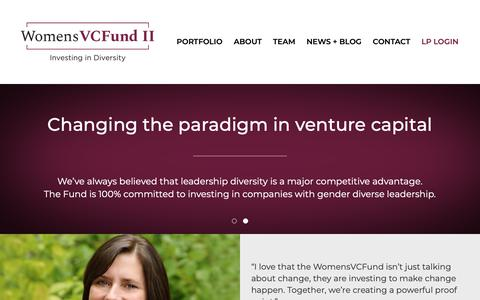 Screenshot of Home Page womensvcfund.com - Home | Womens VC Fund II - captured Oct. 18, 2018
