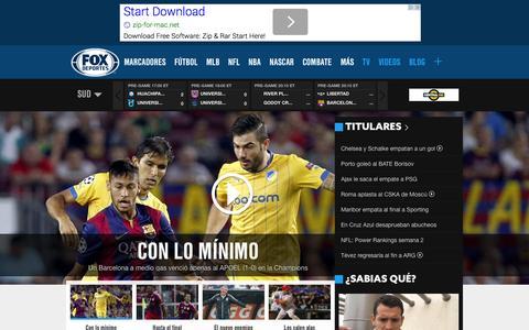 Screenshot of Home Page foxdeportes.com - Noticias de deportes, resultados, videos   FOX Deportes - captured Sept. 18, 2014