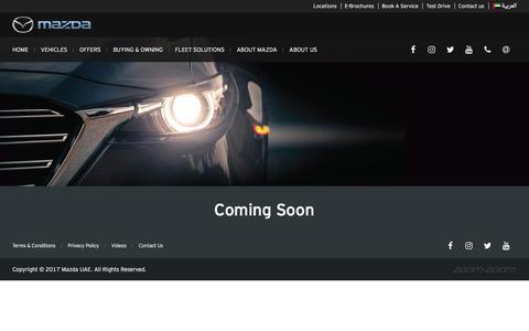 Screenshot of Press Page mazdauae.com - Coming Soon | Mazda UAE - captured July 9, 2017