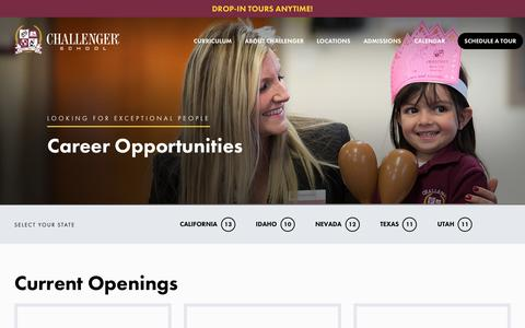 Screenshot of Jobs Page challengerschool.com - Challenger   See Available Positions - captured July 17, 2018