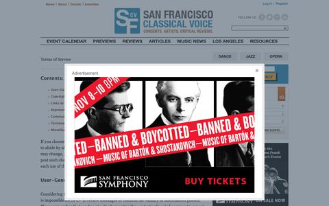 Screenshot of Terms Page sfcv.org - Terms of Service | San Francisco Classical Voice - captured Nov. 7, 2018