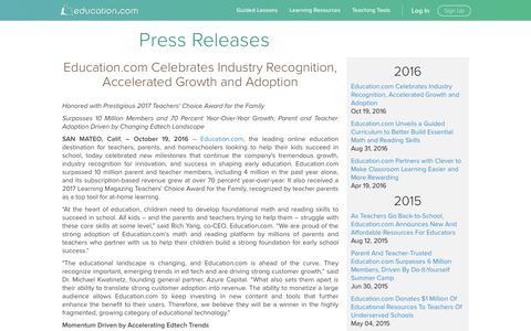 Screenshot of Press Page education.com - Press Releases | Education.com - captured Jan. 20, 2017