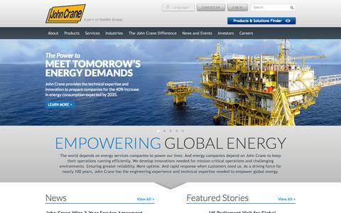 Screenshot of Home Page johncrane.com - Empowering Global Energy Through Engineering Innovation | John Crane - captured Sept. 19, 2014