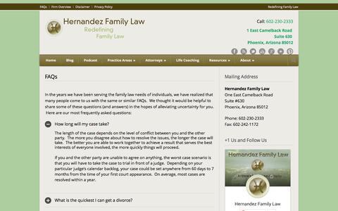 Screenshot of FAQ Page hernandezfirm.com - FAQs - - captured Oct. 26, 2014