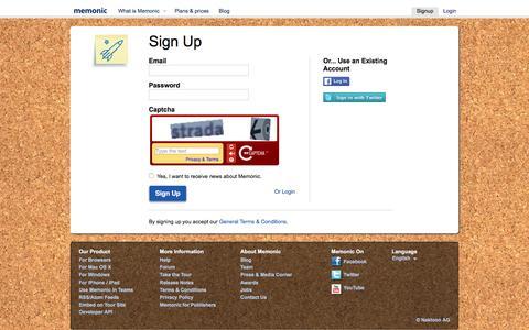 Screenshot of Signup Page memonic.com - Sign Up - Memonic - captured Aug. 8, 2016