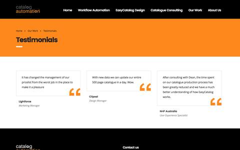 Screenshot of Testimonials Page catalogautomation.com - Testimonials – Catalog Automation Pty Ltd - captured Oct. 27, 2016