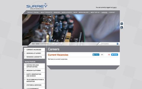Screenshot of Jobs Page sst-us.com - Careers | About Surrey Satellite Technology (SST-US) - captured Oct. 25, 2017