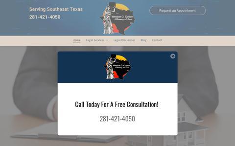 Screenshot of Home Page westoncotten.com - Weston G. Cotten, Attorney at Law | Bankruptcy Highlands TX - captured Nov. 10, 2018