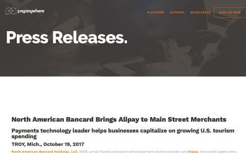 Screenshot of Press Page payanywhere.com - North American Bancard Brings Alipay to Main Street Merchants | PayAnywhere - captured Sept. 28, 2018