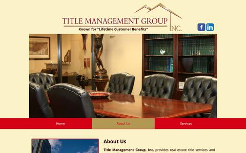 Screenshot of About Page titlemg.com - Title Closing | United States | Title Management Group | About Us - captured Oct. 19, 2018