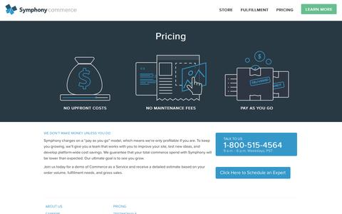 Screenshot of Pricing Page symphonycommerce.com - Get Pricing for Symphony Commerce - captured Dec. 4, 2015