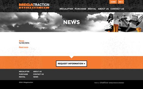 Screenshot of Press Page megatraction.com - News | Megatraction Equipment Inc. - captured Feb. 12, 2016