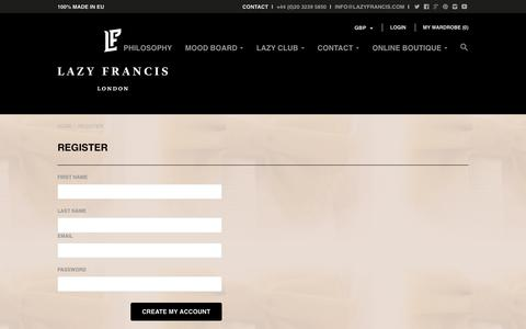 Screenshot of Signup Page lazyfrancis.com - Create Account | Lazy Francis - captured Dec. 8, 2015