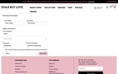 Screenshot of Signup Page stalkbuylove.com - Create New Customer Account - captured Sept. 19, 2018