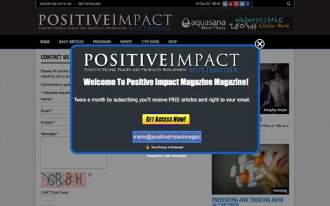 Screenshot of Contact Page positiveimpactmagazine.com - CONTACT US | Positive Impact Magazine - captured Oct. 28, 2014
