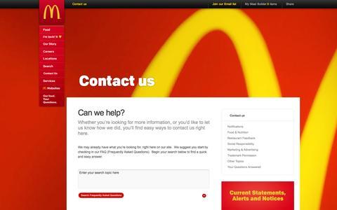 Screenshot of Contact Page mcdonalds.com - Contact us :: McDonalds.com - captured March 29, 2016