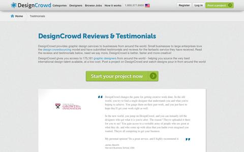 Screenshot of Testimonials Page designcrowd.com - DesignCrowd Reviews and Testimonials from Happy Customers - captured Sept. 11, 2014