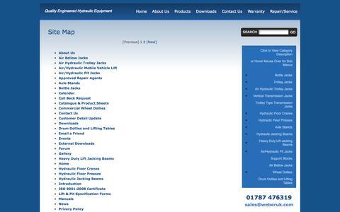 Screenshot of Site Map Page weberuk.com - Weber UK Ltd - Suppliers of Quality Engineered Hydraulic Lifting Equipment across the UK & Ireland - captured Oct. 7, 2014