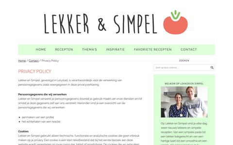 Screenshot of Privacy Page lekkerensimpel.com - Privacy Policy - Lekker en Simpel - captured Oct. 18, 2018