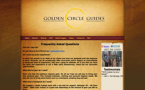 Screenshot of FAQ Page gcguides.org - FAQ - Golden Circle Guides - captured Oct. 3, 2014