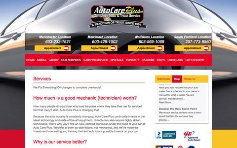 Screenshot of Services Page autocareplus.com - Services - Auto Care Plus - captured Oct. 29, 2014