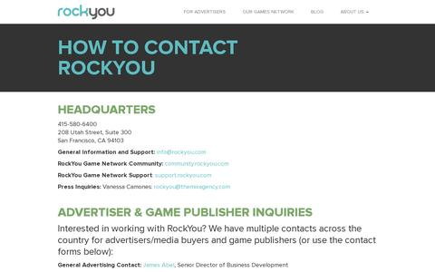 Screenshot of Contact Page rockyou.com - How to Contact RockYou | RockYou - captured July 20, 2014