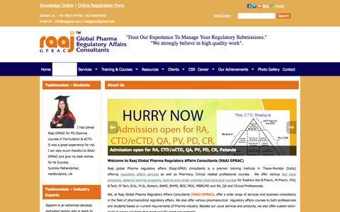 Screenshot of About Page rajgprac.com - About Us | Raj Global Pharma - captured Oct. 27, 2014