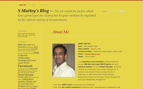 Screenshot of About Page wordpress.com - About Me | S Mattey's Blog - - captured Sept. 12, 2014
