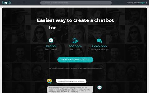 Screenshot of Home Page bottr.me - Bottr: best chat bot platform for individuals & businesses - captured July 17, 2018
