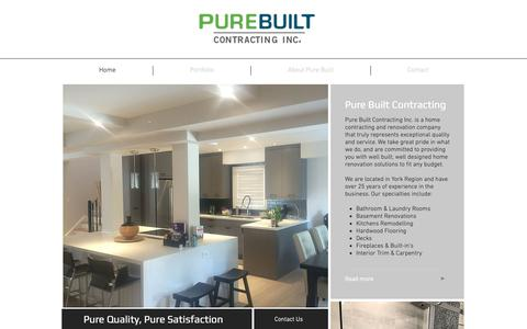 Screenshot of Home Page purebuilt.ca - Home Renovations | Aurora | Pure Built Contracting - captured Sept. 30, 2018