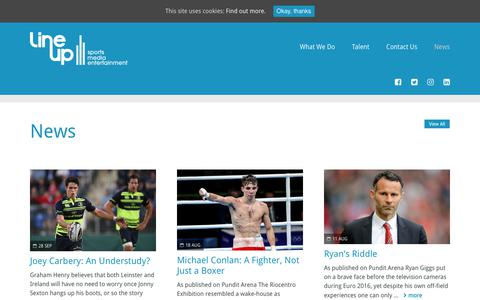 Screenshot of Press Page lineupsme.com - News | Line Up - Sports // Media // Entertainment - captured Sept. 28, 2018