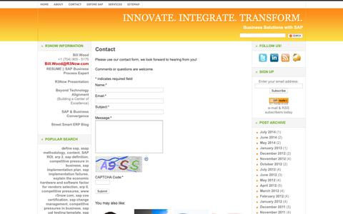 Screenshot of Contact Page r3now.com - R3Now.com SAP, ERP, and IT Service Provider Contacts | INNOVATE. INTEGRATE. TRANSFORM. - captured Nov. 16, 2018