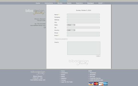 Screenshot of Contact Page biba-design.com - Biba Design Jewelry - Contact - captured Oct. 5, 2014