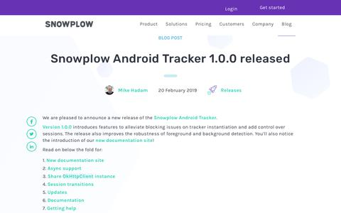 Screenshot of Blog snowplowanalytics.com - Snowplow Android Tracker 1.0.0 released - captured Feb. 10, 2020