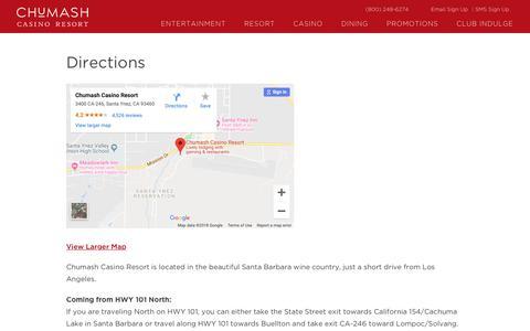 Screenshot of Maps & Directions Page chumashcasino.com - Address and Driving Directions to Chumash Casino Resort, Santa Ynez - captured Nov. 10, 2018
