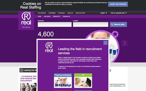 Screenshot of Home Page realstaffing.com - Pharma, Biotech and Medical Devices jobs | Recruitment Specialists | Real Staffing - captured Sept. 23, 2014