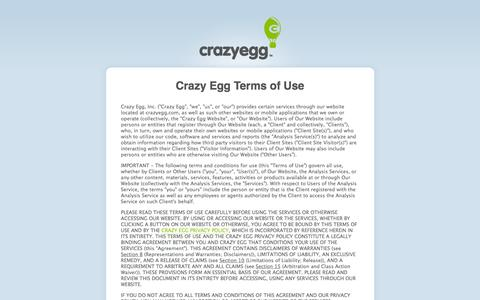 Screenshot of Terms Page crazyegg.com - Crazy Egg Terms of Use - captured July 17, 2016