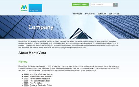 Screenshot of About Page mvista.com - MontaVista embedded Linux software and development tools for intelligent devices and embedded systems - captured July 20, 2014