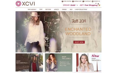 Screenshot of Home Page xcvi.com - XCVI Official Store   XCVI Women's Clothing - captured Oct. 3, 2014