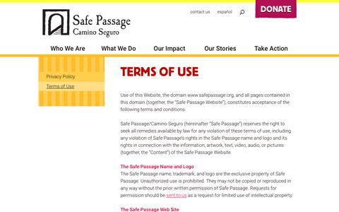 Screenshot of Terms Page safepassage.org - Terms of Use - Safe Passage - captured July 13, 2018