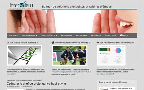 Screenshot of Home Page interview-efm.fr - Site Interview – lieu d'échange dédié à l'EFM (Enterprise Feedback Management) - captured Oct. 6, 2014