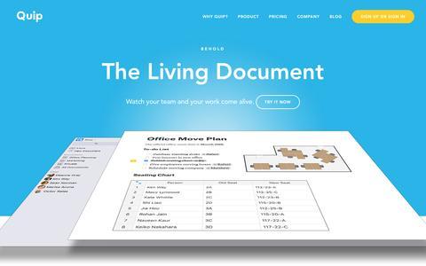Screenshot of Home Page quip.com - Quip - captured Feb. 25, 2016