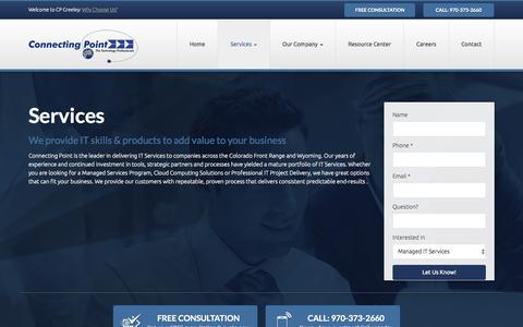Screenshot of Services Page cpgreeley.com - Services   Connecting Point - captured Nov. 2, 2014