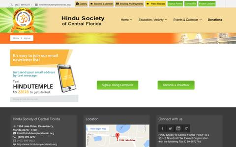 Screenshot of Signup Page hindutempleorlando.org - signup | Hindu Society of Central Florida - captured Nov. 9, 2016
